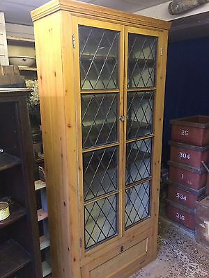 Victorian Stripped Pine Library Bookcase Display Cabinet