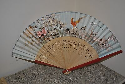 Decorative Chinese Hand Fan  - scene - wood and paper - folds well