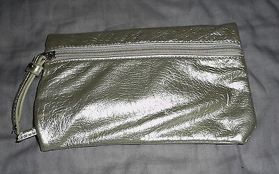 Lovely Ladies small Silver clutch Purse with zipper closure