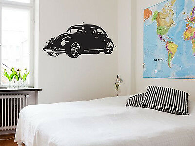 Large Vw Beetle Car Wall Sticker Classic Art Bedroom Mural 60S Vehicle Garage