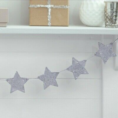 Silver GLITTER STAR BUNTING Banner Decoration Garland Fireplace Tree Christmas