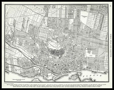 City of MONTREAL Quebec Canada 1937 antique detailed view Plan Map