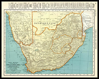 UNION of SOUTH AFRICA Swaziland Africa 1937 antique color lithograph Map