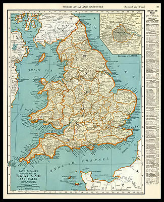 ENGLAND & WALES United Kingdom Europe 1937 antique color lithograph Map