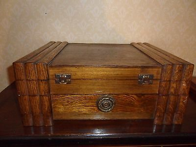 Vintage Oak Canteen Cutlery Box With Drawer