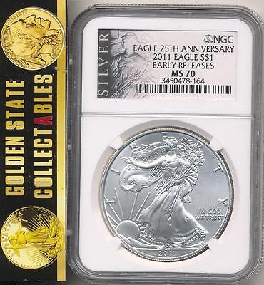 2011 $1 Silver Eagle 25Th Anniversary Legacy Label Ngc Ms70 Early Releases
