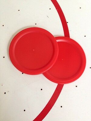 2 X Red 2-inch (50mm) Pucks For Children's Air Hockey Table