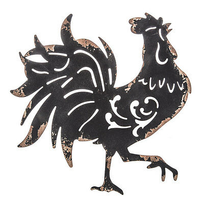 Rustic Black Rooster Metal Wall Décor   Farmhouse Country Decor