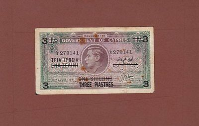 **British Government of Cyprus Banknote 3 Shillings 1943 P-26 VG George VI