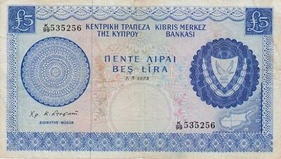 **Central Bank of Cyprus Banknote 5 Lira 1973 P-44 AF Embroidery
