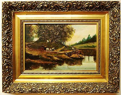 Original Oil Painting On Board In Gold Gilt Frame - Country Scene