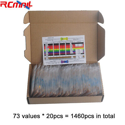1460Pcs 1/4W Metal Film Resistor Kit Assortment Set Labelled 1%Precision 73Value