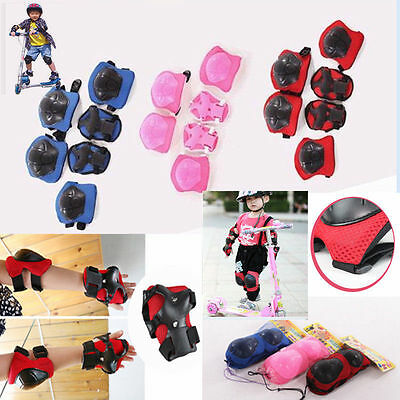 6Pcs Roller Skating Skateboard Knee Elbow Wrist Protective Guard Riding Pad Gear