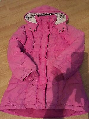 H&M girls pink winter coat age 7-8 years clothes