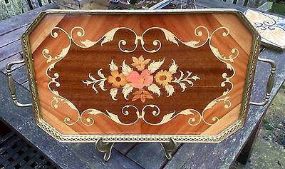 Sorento Ware Serving Tray With Brass Gallery & Handles.