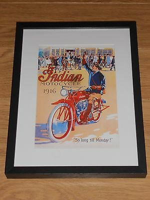 1916 Indian Motorcycle Poster Framed A4 Reprint,classic Bike,model K,chief,scout