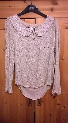 Vintage Attr@ttivo Dusky Pink Patterned Blouse with Peter Pan Collar. Size M