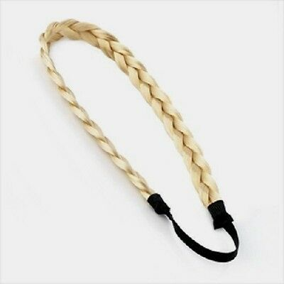 (CLARES) 6 Platted Imitation Hair BAND  Elastic Head Wrap BLONDE