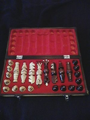 """Carved wood chess set 3"""" kings"""