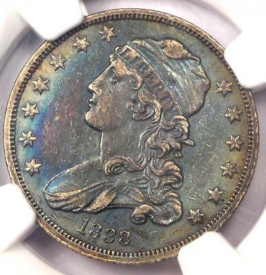 1838 Capped Bust Quarter 25C Coin - Certified NGC XF Details (EF) - Rainbow Tone
