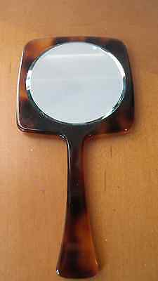 Vintage faux tortoise shell small hand mirror made in France