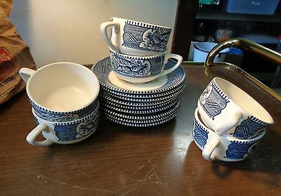 Set Currier Ives Cup Saucer Blue White Royal China Vintage Dinnerware