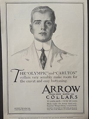 ANTIQUE 1908 AD (E5)~ARROW COLLARS. CLUETT,PEABODY & Co. TROY, NY.
