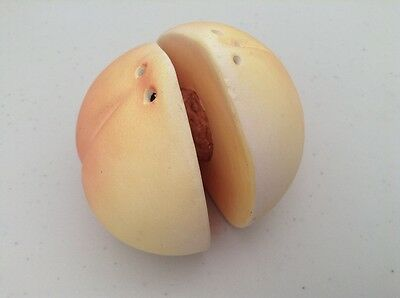 Fun Peach Shape Ceramic Salt & Pepper Pot  -  New