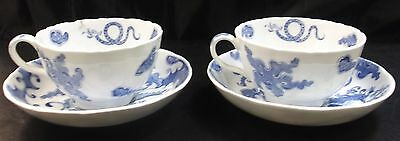 Royal Worcester Vintage China Cups & Saucers Blue Dragon Pattern     Sn