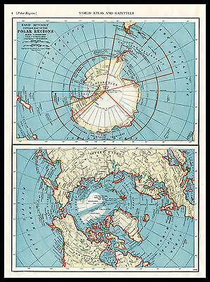 POLAR REGIONS Arctic Antarctica South North Pole 1946 color lithograph Map