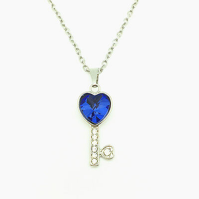 Fashion Jewelry Key Rhinestone Blue Heart Pendant Chain Necklace Silver New
