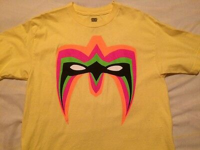 WWE WWF Ultimate Warrior 'Parts Unknown' Official Yellow Shirt (M) Medium Adults