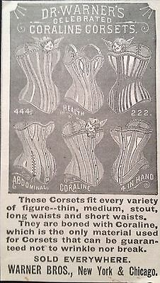 Antique 1896 Ad (1800-15)~Dr. Warner's Celebrated Coraline Corsets
