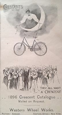 Antique 1896 Ad (1800-15)~Crescent Bicycles. Western Wheel Works