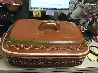 Vintage Mexican Clay Roaster With Lid