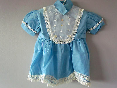 1970's Vintage Blue Dress for Baby Girl | Size 6mths