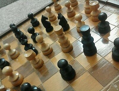 vintage chess and draught travel  board