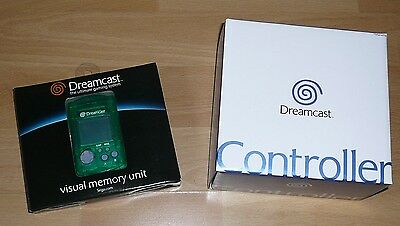 Sega Dreamcast CONTROLLER & Green VMU Visual Memory Unit New Original in Box