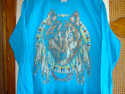 Wolf Long Sleeve Graphic Tee , 100% Cotton T Shirt , Youth Size L , Teal Blue