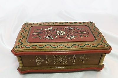 Vintage Anri Reuge Swiss Carved Wood Music Jewelry Box Plays Happy Talk