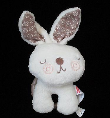 """Fisher Price Bunny Rabbit Cream Plush Soft Baby Toy Hanging Rattle Brown 4"""""""