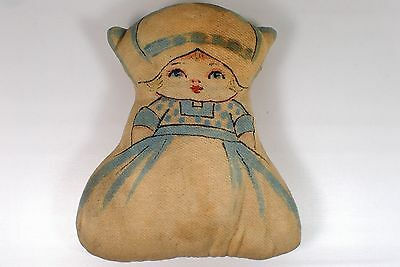 "RARE Estate 9"" Antique Victorian Vtg Stuffed Cloth Rag Girl Doll Embroidered"
