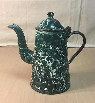 Antique Green Graniteware Enamelware Coffee Pot Boiler