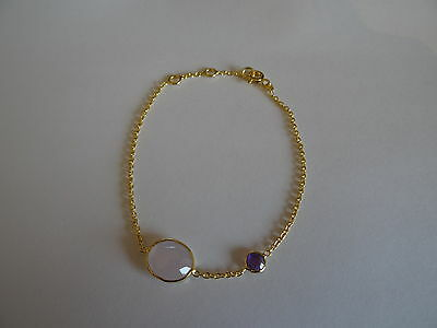 Gold Plated Sterling Silver 92.5 Gemstone Bracelet Rose Quartz & Amethyst