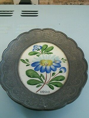 pewter porcelain flower     hand painted