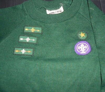 """Vintage Cub Scout Jumper with Bronze, Silver and Gold Arrow Badges,  30"""" Chest"""