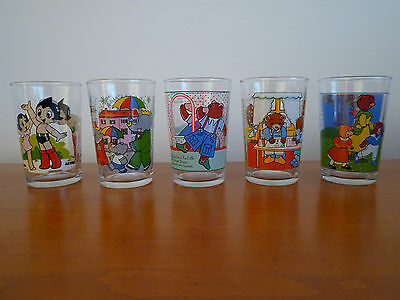 """Lot 5 Verres Moutarde Serigraphie Dessins Animes.""""astro. Babar. Petit Ours Brun"""""""