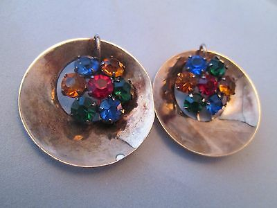 Vintage Art Deco Sterling SIlver Gold Multi Rhinestone Fur Clip Pair Signed