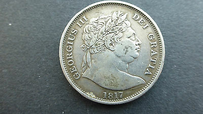 George 111 silver Bullhead Halfcrown coin 1817 good grade
