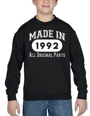 Made In 1992 Youth Crewneck All Original Parts 25th Birthday Gift Sweatshirts